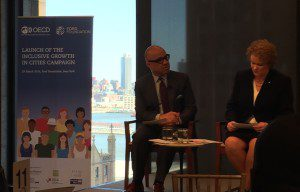 Ford Foundation President Darren Walker and Stockholm's Mayor Karin Bjornsdotter Wanngard